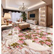 Díszes márványpadló rózsabokorral
