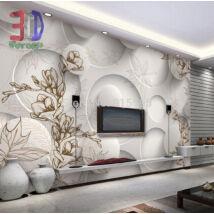 3D fehér fal kör mintával, virágokkal
