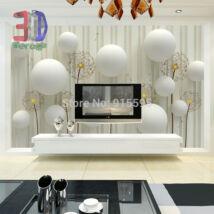3D fehér fal gömbökkel, virágokkal