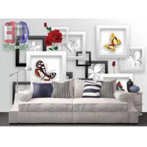 3D fehér fali képkeret virágokkal, lepkékkel