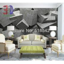 3D szürke kőfal, kőtömbökkel