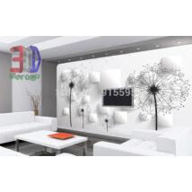 3D fehér domború fali panel, fekete virággal