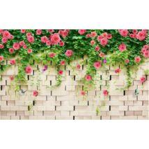 Rózsával borított kőkerítés