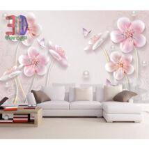 Rózsaszín virágok gyöngyökkel