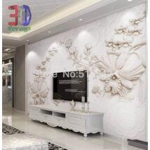 3D fehér domború virágok