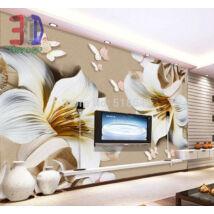 3D arany szegélyű fehér virágok