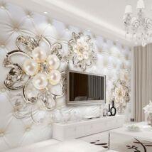 3D párnázott fal gyöngyökkel, virágokkal