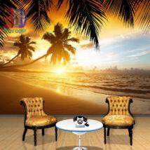 Tengerparti naplemente pálmafával