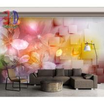 Modern fal virágokkal