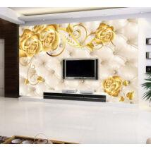 Arany rózsák párnázott falon