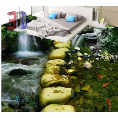 vízesés patakkal, zöld kövekkel