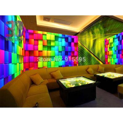szivárvány színű kockás fal