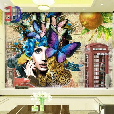 női fej pillangókkal,  leopárdal