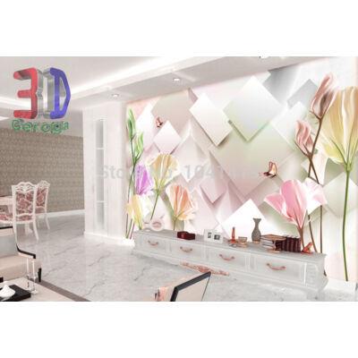 3D fehér-rózsaszín négyszögletes fali panel, virágokkal
