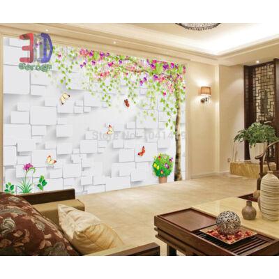3D fehér panel, színes fával, pillangókkal