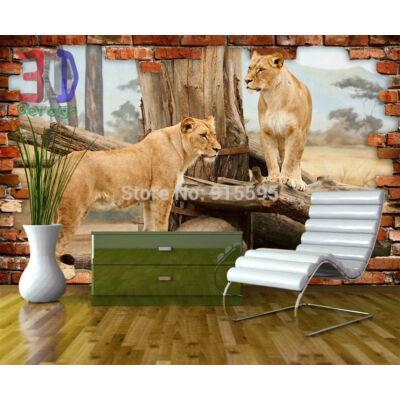 téglafal, oroszlánok