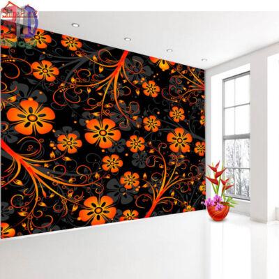 fekete-narancs virágos minta