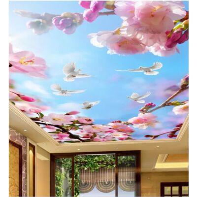 Kék ég rózsaszín virágokkal