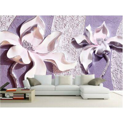 3D fehér virág lila falon